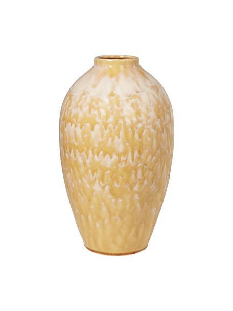 Keramik-Vase Ingrid in Gelb, Keramik, Gelb, Beige, Ø 24 x H 40 cm