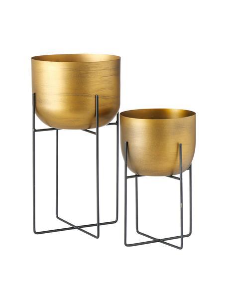 Übertopf-Set Gadal aus Metall, 2-tlg., Metall, beschichtet, Messingfarben, Sondergrößen