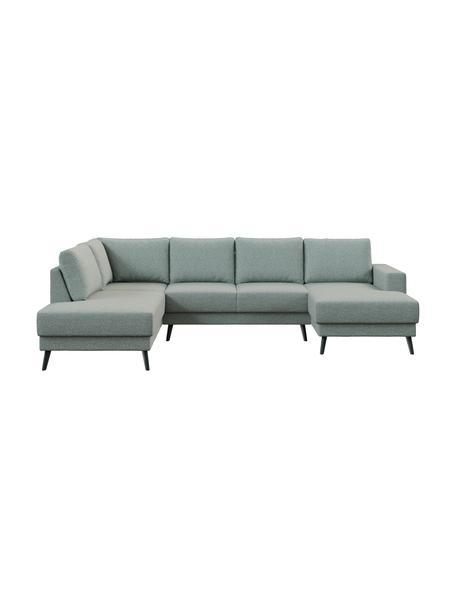 Sofa narożna XL z funkcją spania Fynn, Tapicerka: 100% poliester z uczuciem, Stelaż: drewno liściaste, drewno , Nogi: drewno lakierowane Dzięki, Greige, S 306 x G 200 cm