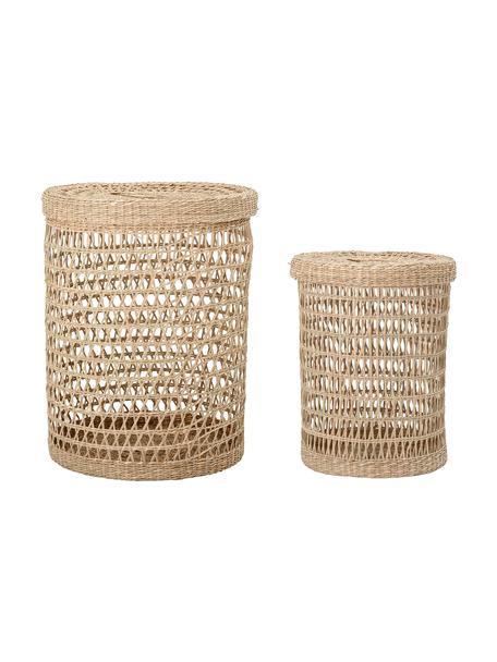 Set de cestas Beta, 2pzas., Fibra natural, Beige, Set de diferentes tamaños