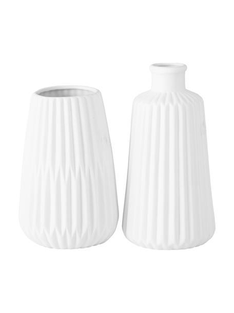 Vasen-Set Esko aus Porzellan, 2-tlg., Porzellan, Weiss, Ø 8 x H 17 cm