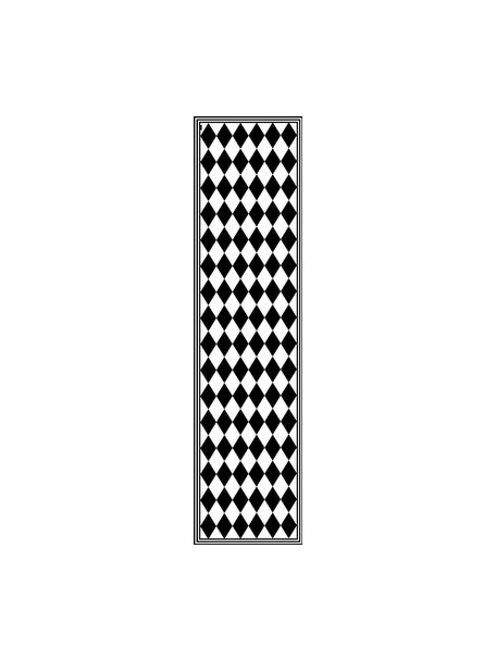 Tappetino antiscivolo nero/bianco in vinile Bobby II, Vinile riciclabile, Nero, bianco, Larg. 65 x Lung. 255 cm