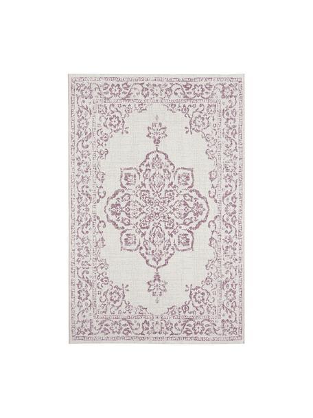 In- & outdoor vloerkleed Tilos in vintage stijl, 100% polypropyleen, Crèmekleurig, roze, B 80 x L 150 cm (maat XS)