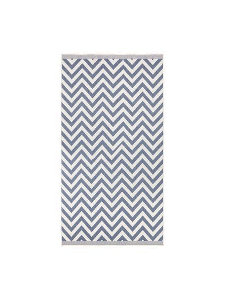 In- & Outdoor-Teppich Palma mit Zickzack-Muster, beidseitig verwendbar, Blau, Creme, B 80 x L 150 cm (Größe XS)
