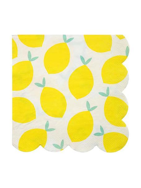 Tovagliolo di carta Lemon 20 pz, Carta, Bianco, giallo, verde, Larg. 33 x Lung. 33 cm