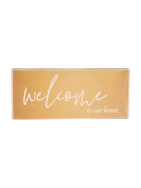 Wandschild Welcome to our home, Metall, beschichtet, Orange, Weiß, 31 x 13 cm