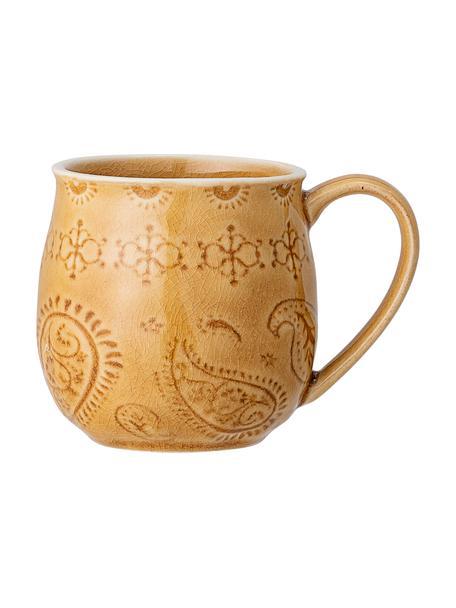 Handgemachte Tasse Rani mit Craquelé Glasur, Steingut, Gelb, Ø 10 x H 10 cm