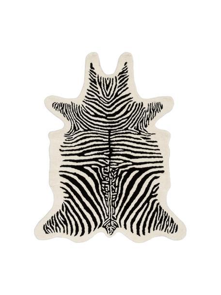 Handgetuft wollen vloerkleed Savanna Zebra, Bovenzijde: 100% wol, Onderzijde: 100% katoen, Zwart, crèmekleurig, 95 x 120 cm