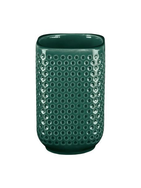 Porta spazzolini in gres Mila, Gres, Verde smeraldo, Ø 8 x Alt. 11 cm