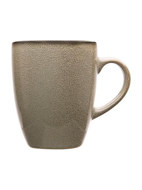 Steingut Tassen Ceylon in Grau/Grün gesprenkelt, 2 Stück, Steinzeug, Bräunlich, Grüntöne, Ø 9 x H 10 cm