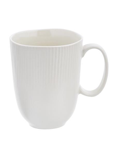 Handgemachte Tassen Sandvig mit leichtem Rillenrelief, 4 Stück, Porzellan, durchgefärbt, Gebrochenes Weiß, Ø 8 x H 10 cm