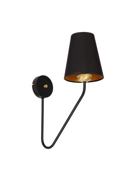Design wandlamp Victoria, Lampenkap: katoenmix, Decoratie: gecoat metaal, Frame: zwart gelakt eikenhout. Voet: goudkleurig, 15 x 50 cm