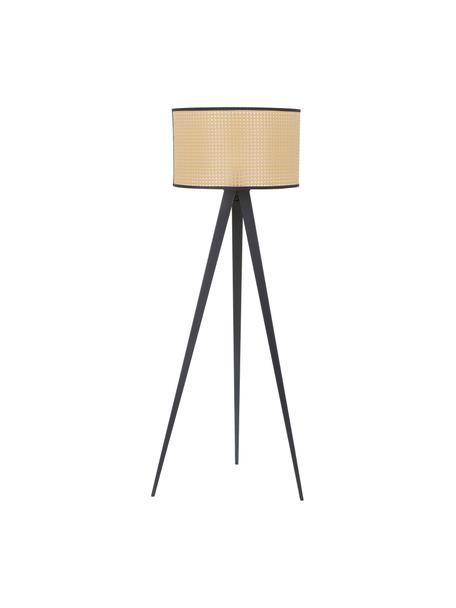 Lámpara de pie tripode Vienna, Pantalla: plástico, Cable: tela, Beige, negro, ∅ 50 x Al 154 cm