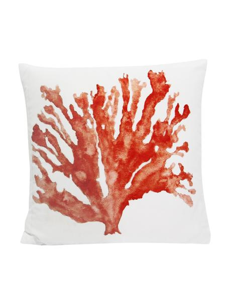 Kussenhoes Coral met koraalprint, 100% polyester, Wit, koraalkleurig, 45 x 45 cm