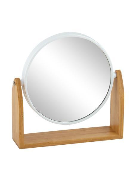 Kosmetikspiegel Bow, Rahmen: Bambus, Metall, Spiegelfläche: Spiegelglas, Braun, 19 x 18 cm