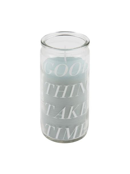 Kerze Good Things, Glas, Wachs, Transparent, Mintfarben, Ø 6 x H 14 cm