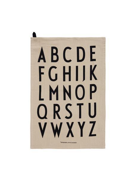 Katoenen theedoeken Classic in beige met design letters, 2 stuks, 100% katoen, Beige, zwart, 40 x 60 cm