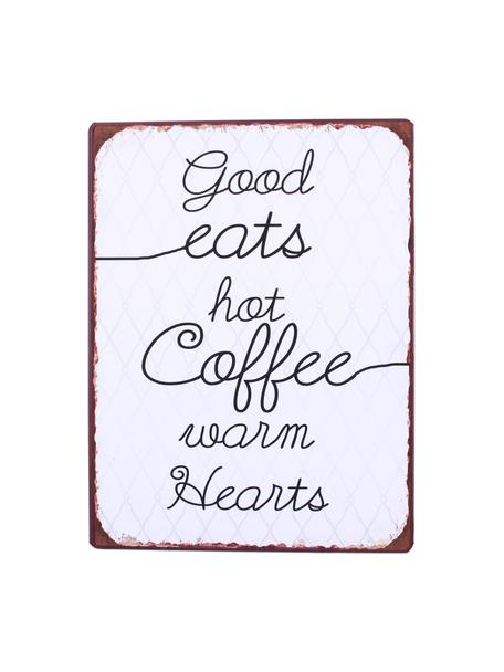 Wandschild Good eats, hot coffee, warm hearts, Metall, beschichtet, Weiss, Schwarz, Braun, 27 x 35 cm