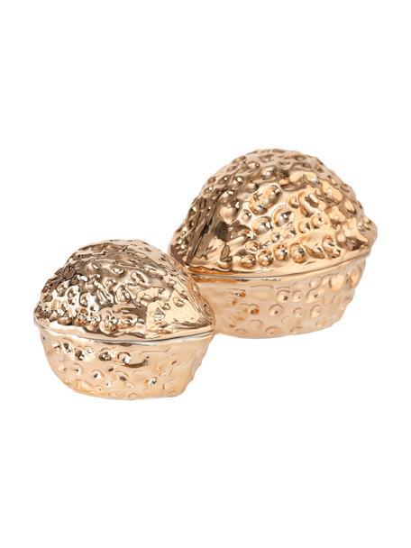 Set de tarros decorativos Walnut, 2pzas., Porcelana, Dorado, Set de diferentes tamaños