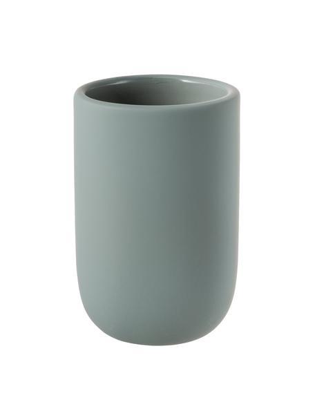 Porta spazzolini in ceramica Lotus, Ceramica, Verde, Ø 7 x Alt. 10 cm