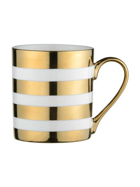 Mokken Stripes, 4 stuks, Porselein, Wit, goudkleurig, Ø 9 x H 10 cm