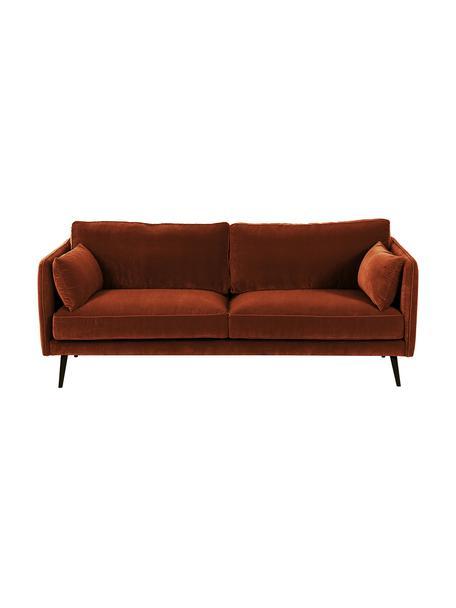 Sofa z aksamitu z drewnianymi nogami Paola (3-osobowa), Tapicerka: aksamit (poliester) 7000, Nogi: drewno świerkowe, lakiero, Aksamitny rudy, S 209 x G 95 cm
