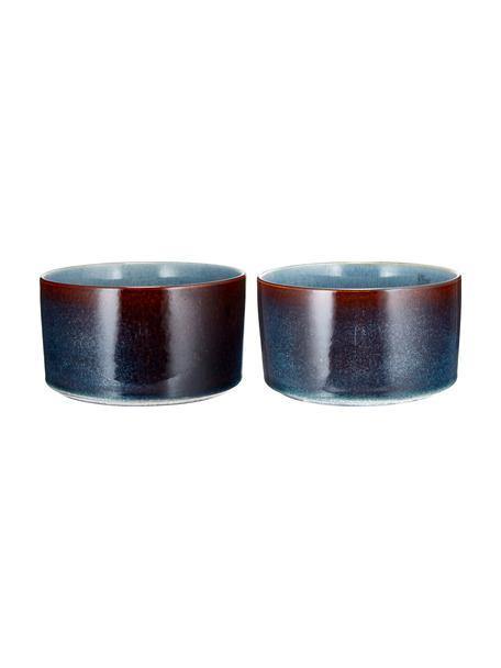Handgemachte Schälchen Quintana Amber mit Farbverlauf, 2 Stück, Porzellan, Blau, Braun, Ø 14 cm