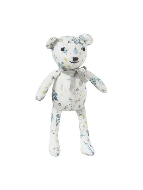 Knuffeldier Teddy van biokatoen, Bekleding: biokatoen, OCS-gecertific, Wit, blauwtinten, geel, 14 x 28 cm