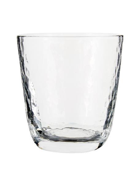 Vasos de vidrio soplado Hammered, 4uds., Vidrio soplado artesanalmente, Transparente, Ø 9 x Al 10 cm