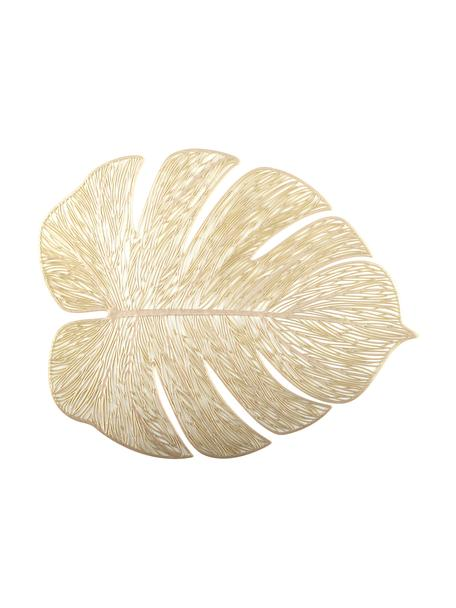 Set 2 tovagliette ameriane dorate Leaf, Materiale sintetico, Dorato, Larg. 33 x Lung. 40 cm