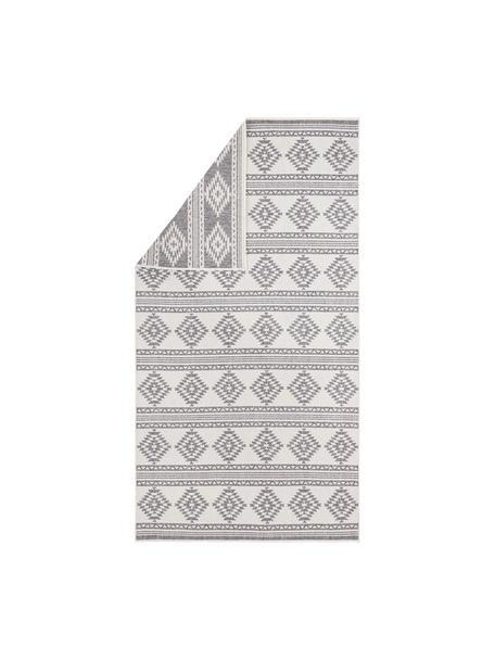 Alfombra reversible de interior/exterior Maple, estilo étnico, 100%polipropileno, Gris, crema, An 80 x L 150 cm (Tamaño XS)