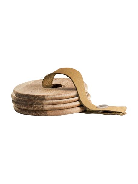 Posavaso de madera Strap, 4uds., Cordón: cuero, Roble, marrón, Ø 9 x Al 1 cm