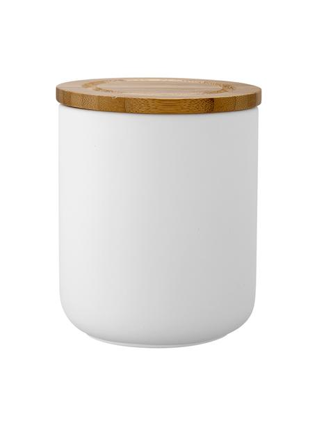 Barattolo con coperchio Stak, Coperchio: legno di bambù, Bianco, bambù, Ø 10 x Alt. 13 cm