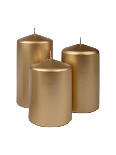 Komplet świec stołowych Parilla, 3 elem., Wosk, Odcienie złotego, Komplet z różnymi rozmiarami