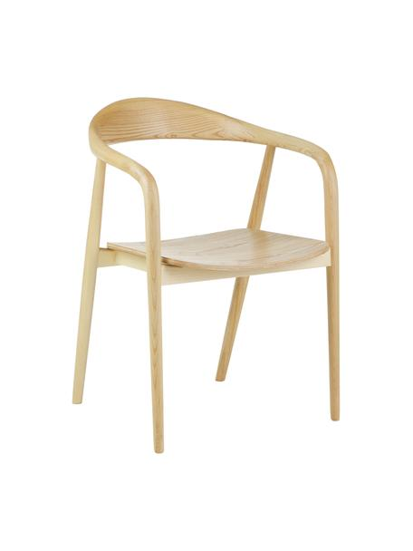 Armlehnstuhl Angelina aus Massivholz, Sitzfläche: Sperrholz mit Eschenholzf, Gestell: Massives Eschenholz, lack, Braun, B 57 x T 57 cm