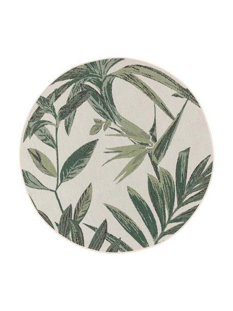 Alfombra redonda de interior/exterior Capri, 100%polipropileno, Verde, crema, Ø 160 cm (Tamaño L)