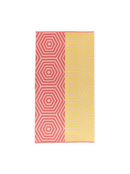 Telo mare Cloudburst, Rosso corallo, giallo, Larg. 100 x Lung. 180 cm
