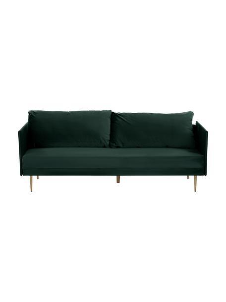 Fluwelen slaapbank Lauren, Bekleding: fluweel (polyester), Frame: grenenhout, Poten: gelakt metaal, Bekleding: donkergroen. Poten: glanzend goudkleurig, 206 x 87 cm