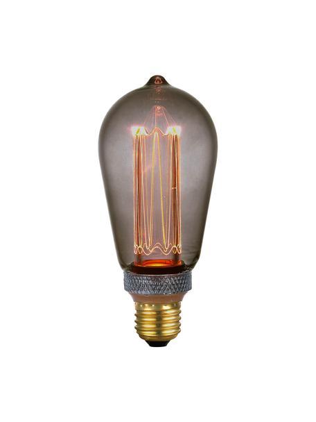 Lampadina E27, 5W, dimmerabile, bianco caldo, 1 pz, Paralume: vetro, Base lampadina: metallo rivestito, Grigio trasparente, Ø 6 x Alt. 14 cm