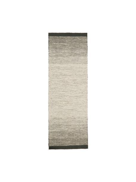 Passatoia in lana tessuta a mano Lule, 70% lana, 30% cotone, Verde scuro, beige, Larg. 80 x Lung. 250 cm