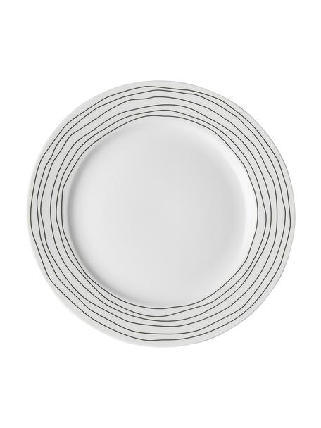 Talerz śniadaniowy Eris Loft, 4 szt., Porcelana, Biały, czarny, Ø 21 x W 2 cm