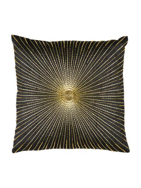 Kissenhülle Sunray mit Perlenstickerei, 100% Polyester, Schwarz, Goldfarben, 40 x 40 cm