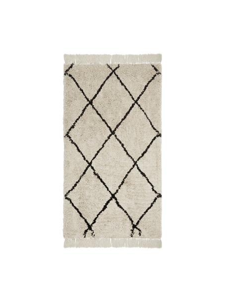 Alfombra artesanal con flecos Naima, Parte superior: 100%poliéster, Reverso: 100%algodón, Beige, negro, An 80 x L 150 cm (Tamaño XS)
