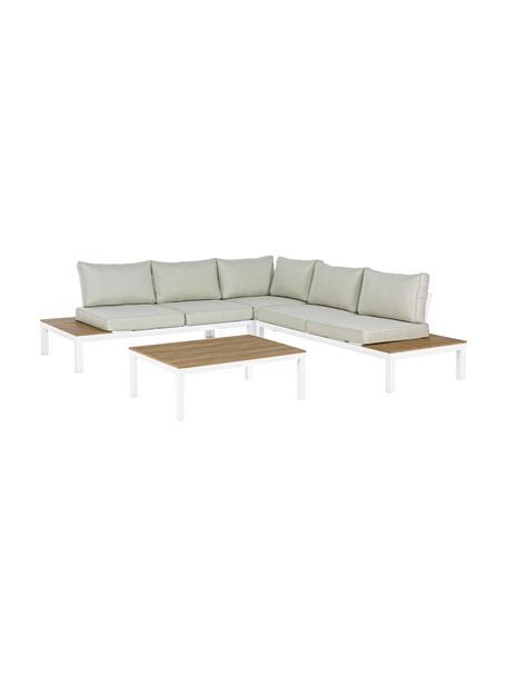 Set lounge de exterior Elias, 4pzas., Estructura: aluminio con pintura en p, Asiento: madera contrachapada recu, Blanco, teca, beige, Set de diferentes tamaños