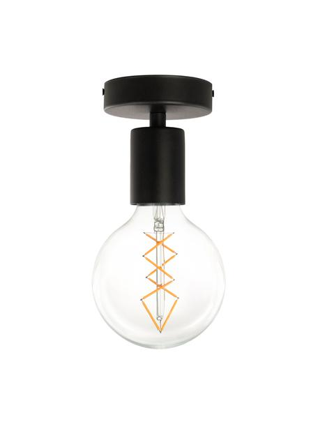 Kleine plafondlamp Cero, Baldakijn: gepoedercoat staal, Fitting: gepoedercoat staal, Zwart, Ø 10 x H 12 cm