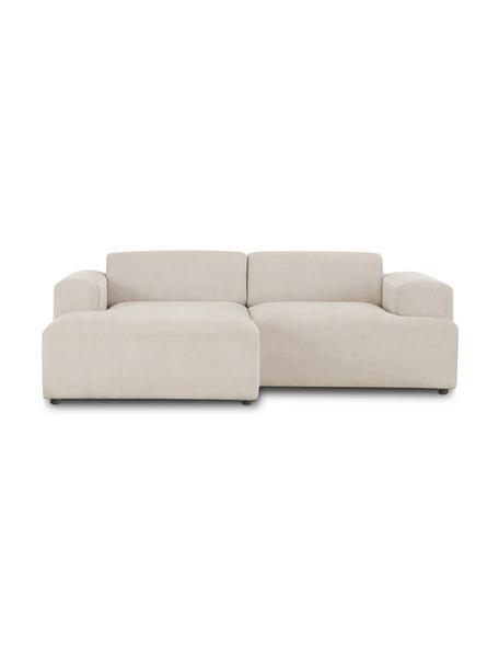 Cord-Ecksofa Melva (3-Sitzer) in Beige, Bezug: Cord (92% Polyester, 8% P, Gestell: Massives Kiefernholz, FSC, Cord Beige, B 239 x T 143 cm