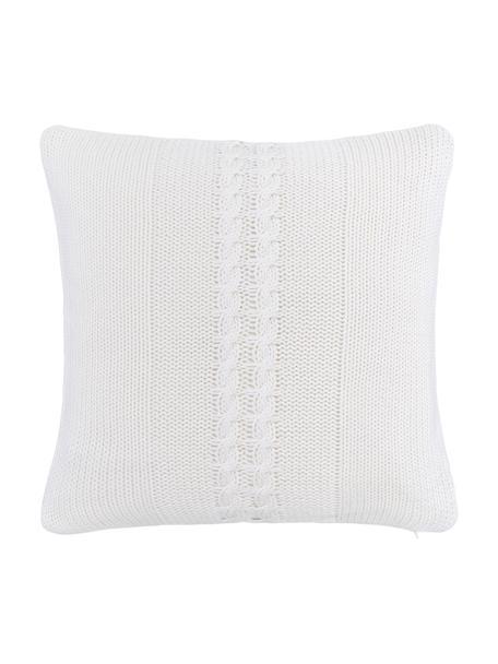 Federa arredo in cotone fatta a maglia Lucas, 100% cotone, Bianco crema, Larg. 40 x Lung. 40 cm