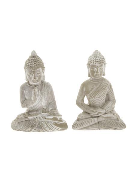 Komplet dekoracji Buddha, 2 elem., Beton, Jasnoszary, S 9 x W 14 cm