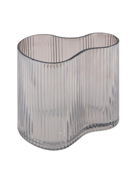 Kleine glazen vaas Gloria met groefpatroon, Glas, Grijs, 19 x 18 cm