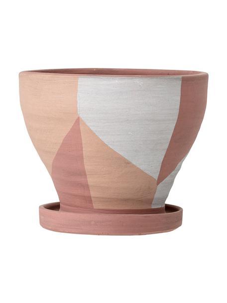 Kleiner Pflanztopf Abonoa aus Terrakotta, Terrakotta, Rosa, Lachsfarben, gebrochenes Weiß, Ø 18 x H 16 cm